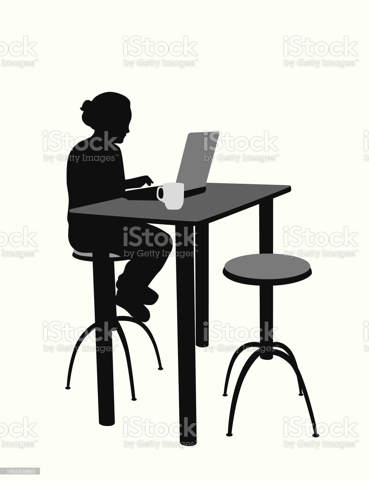 Laptop And Coffee Vector Silhouette royalty-free stock vector art
