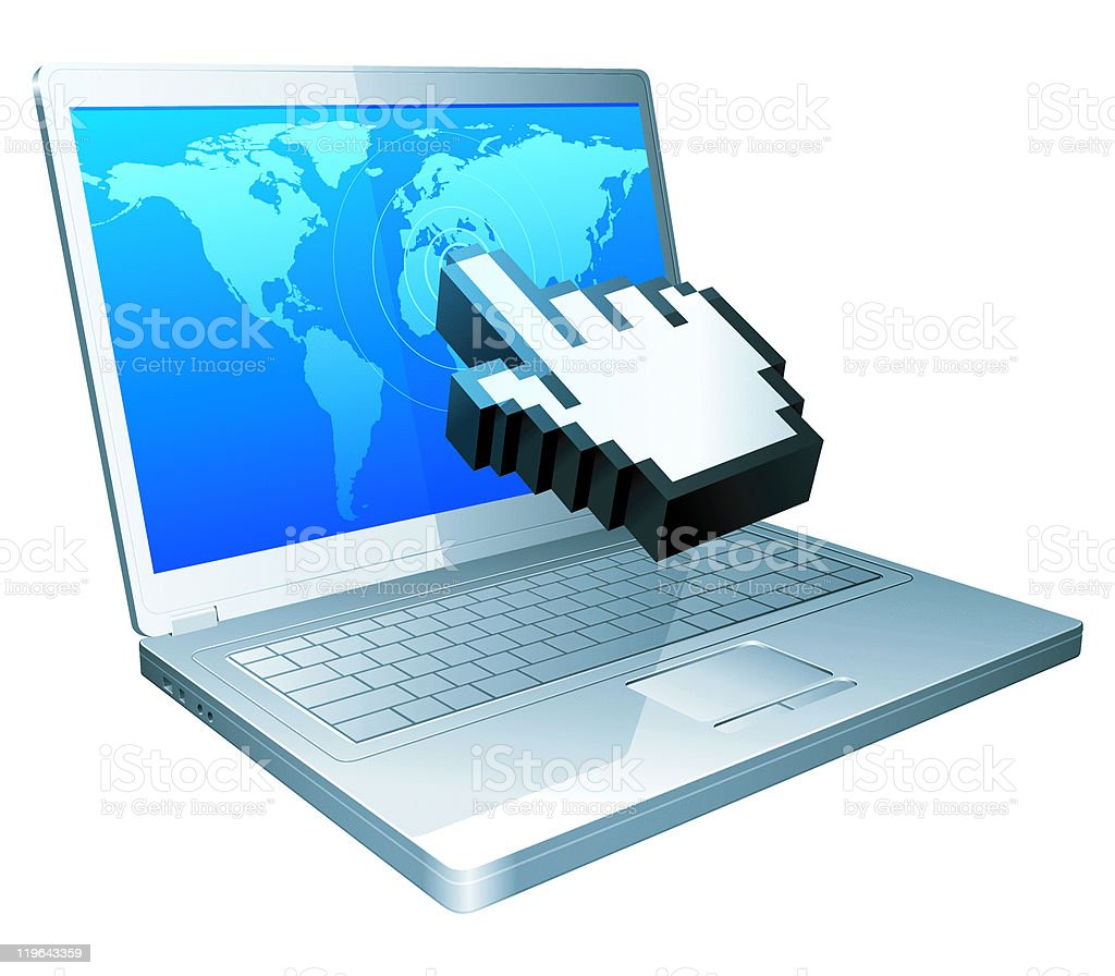 Laptop and cursor. royalty-free stock vector art