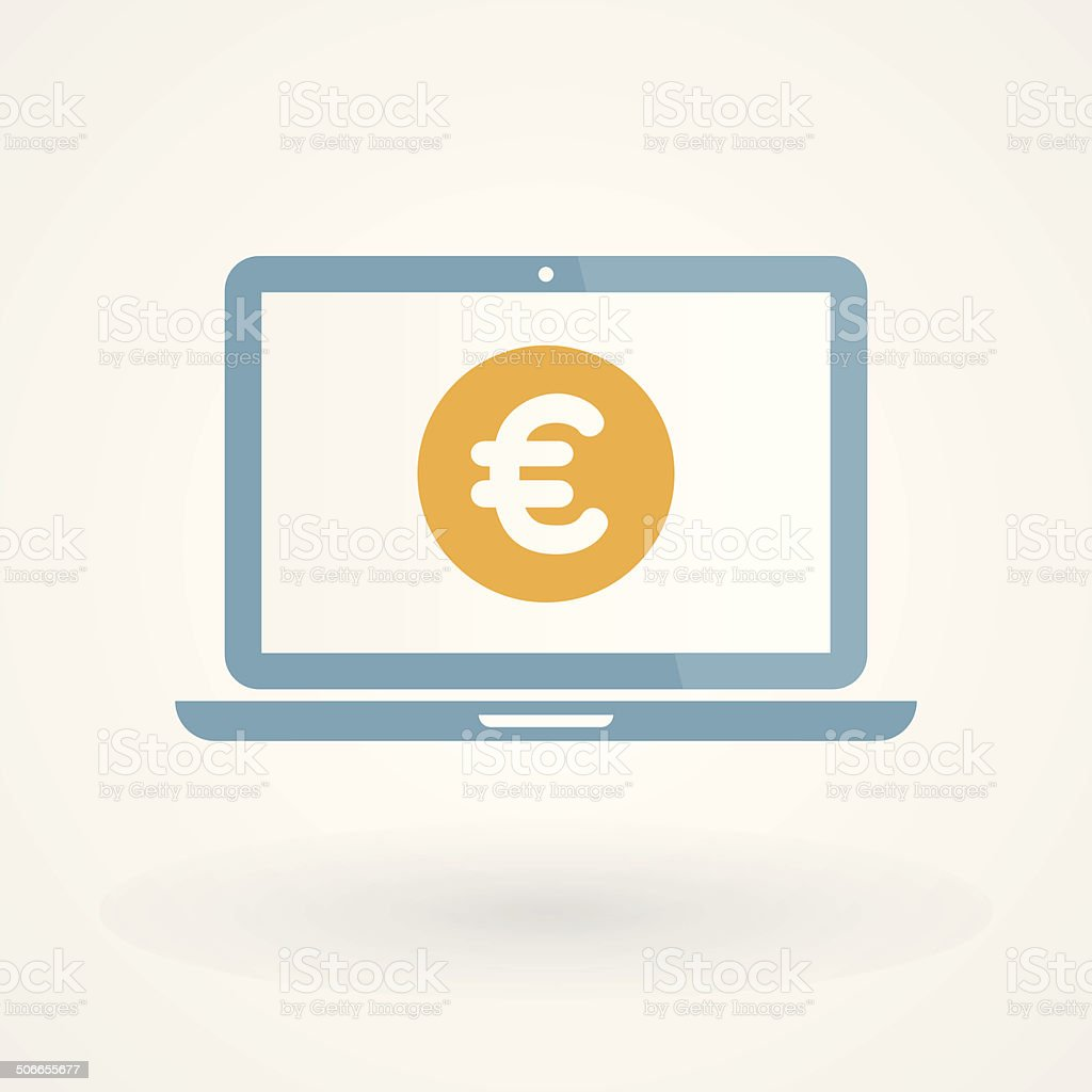 Laptop and Euro vector art illustration