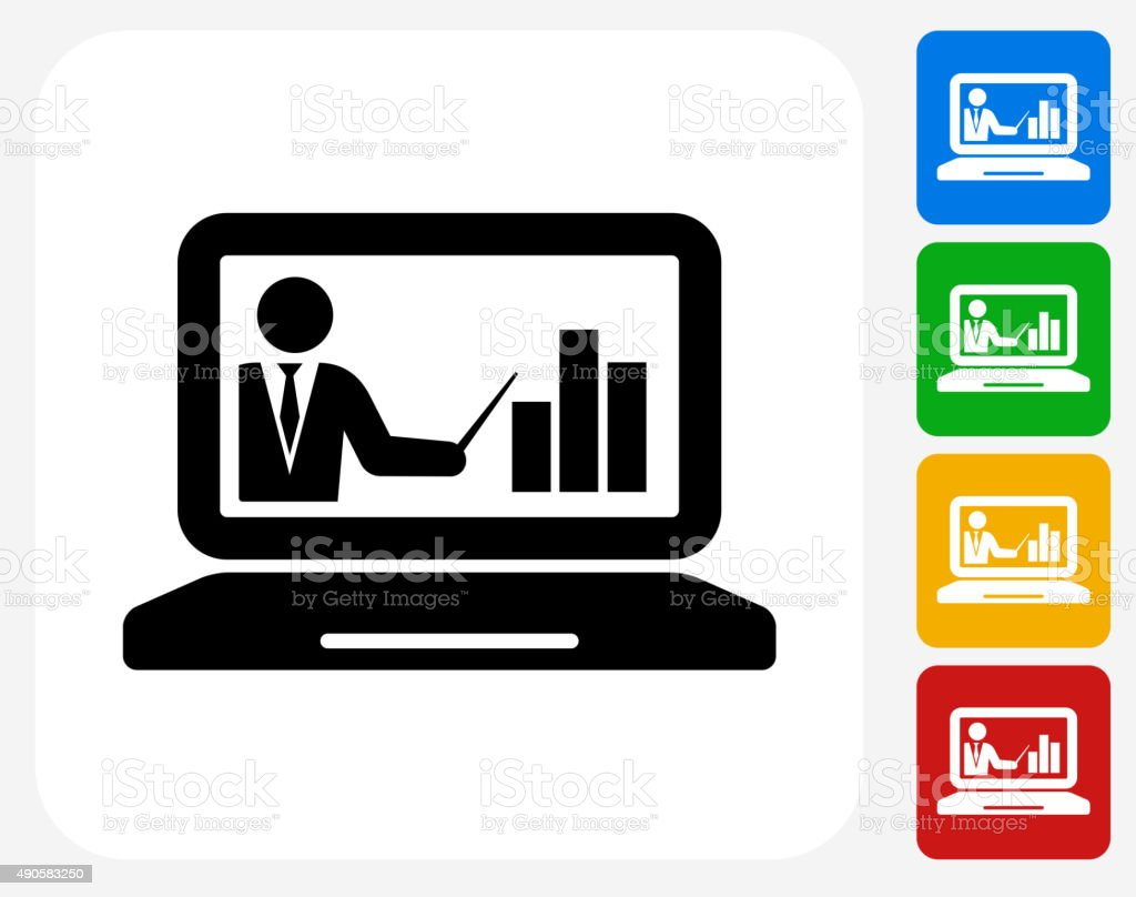 Laptop and Progress Presentation Icon Flat Graphic Design vector art illustration