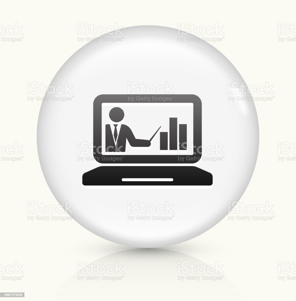 Laptop and Progress Presentation icon on white round vector button vector art illustration