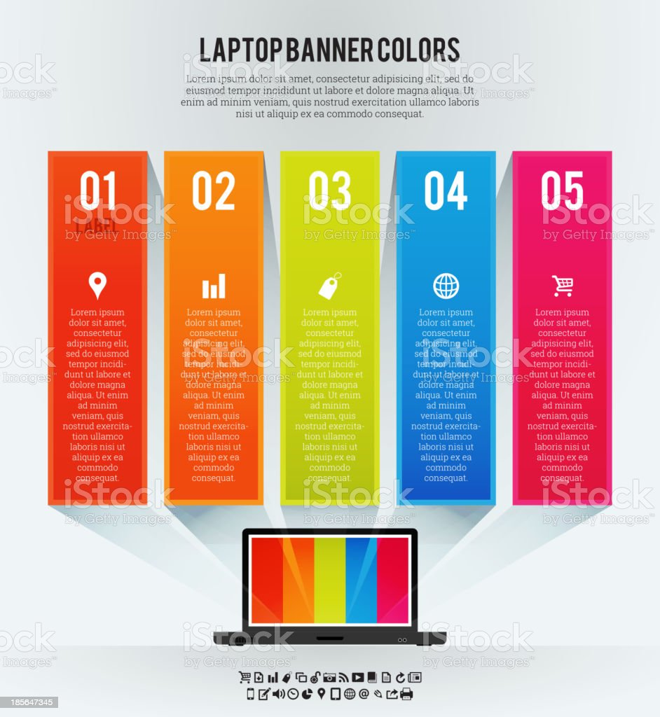 Laptop Banner Colors Background royalty-free stock vector art