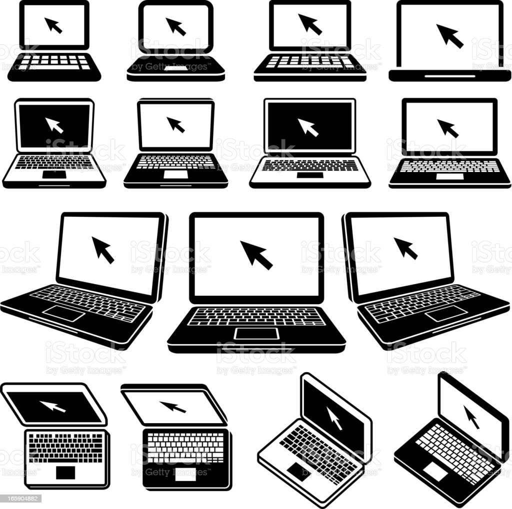 Laptop black and white royalty free vector icon set vector art illustration