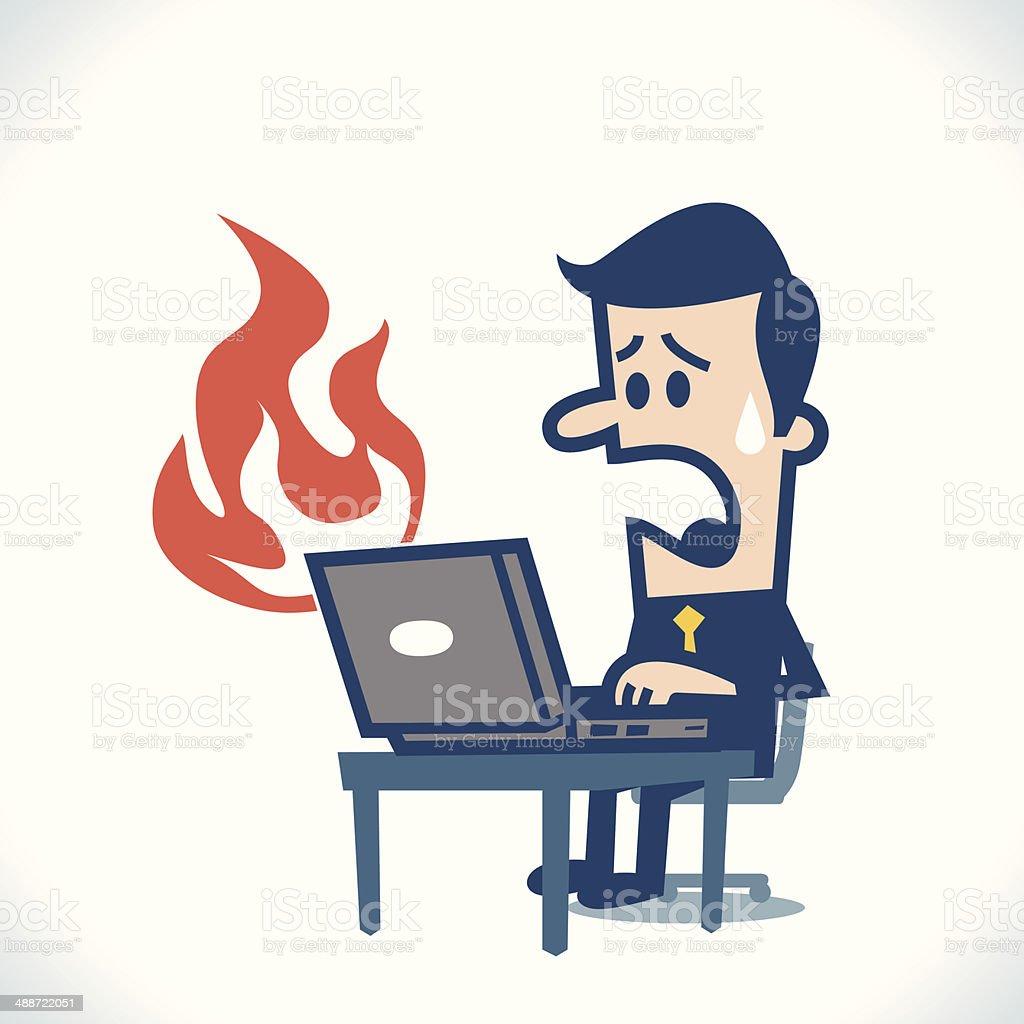 laptop burn vector art illustration