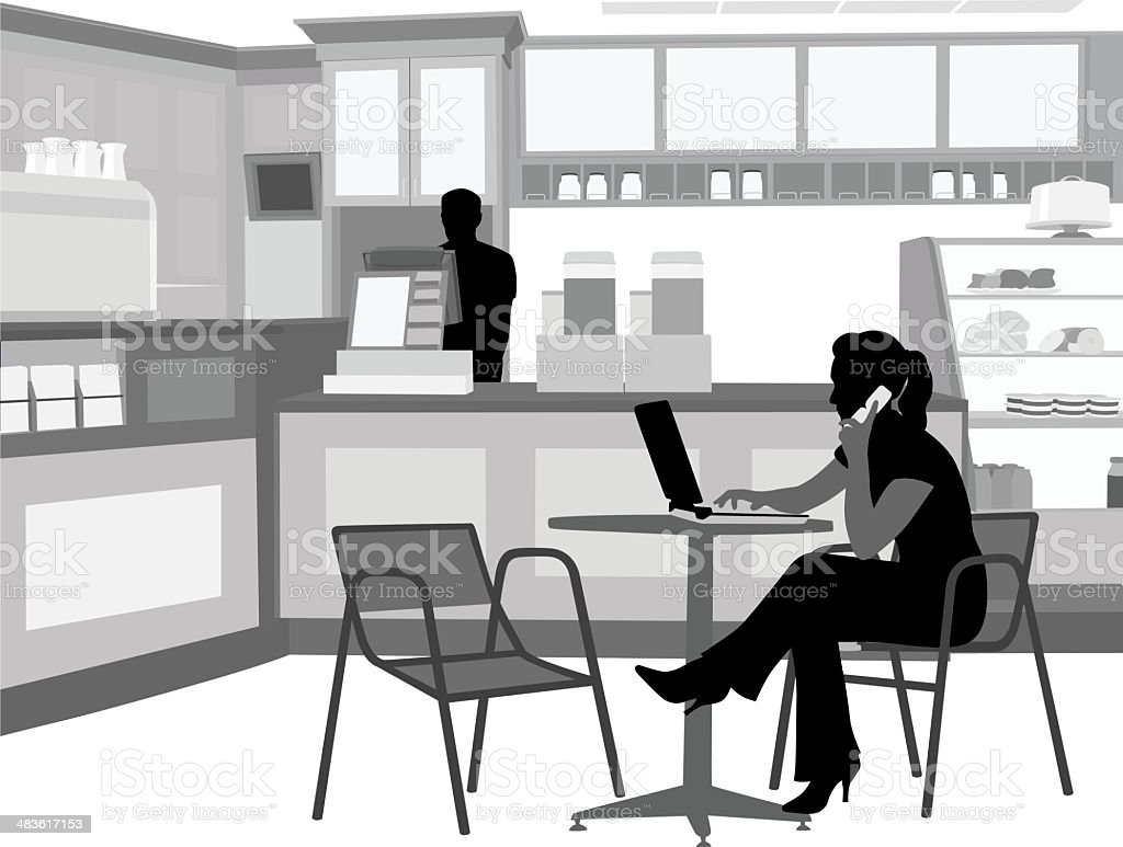 Laptop Coffee Cellphone Vector Silhouette vector art illustration