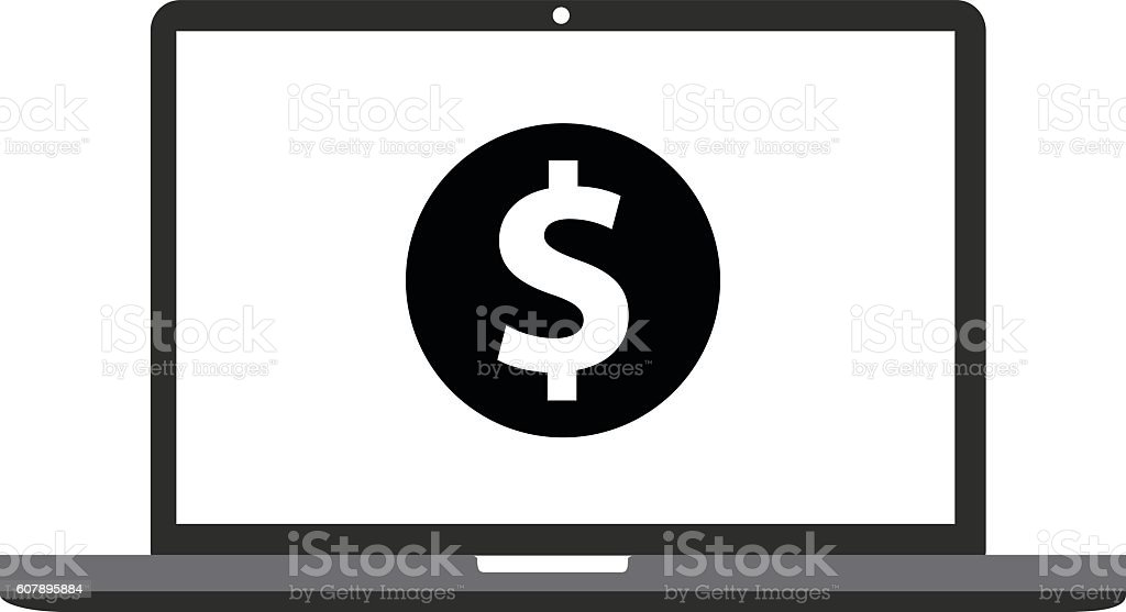 Laptop Coin Icon vector art illustration