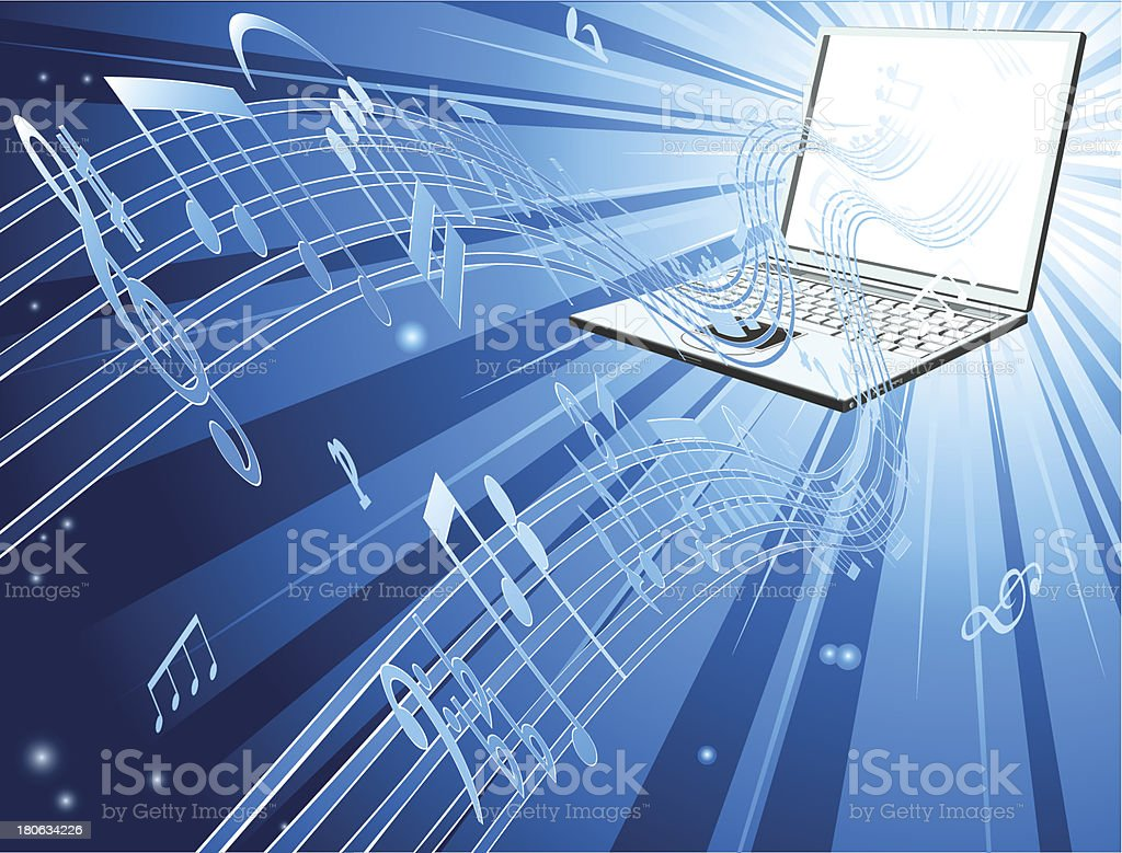 Laptop computer music background royalty-free stock vector art