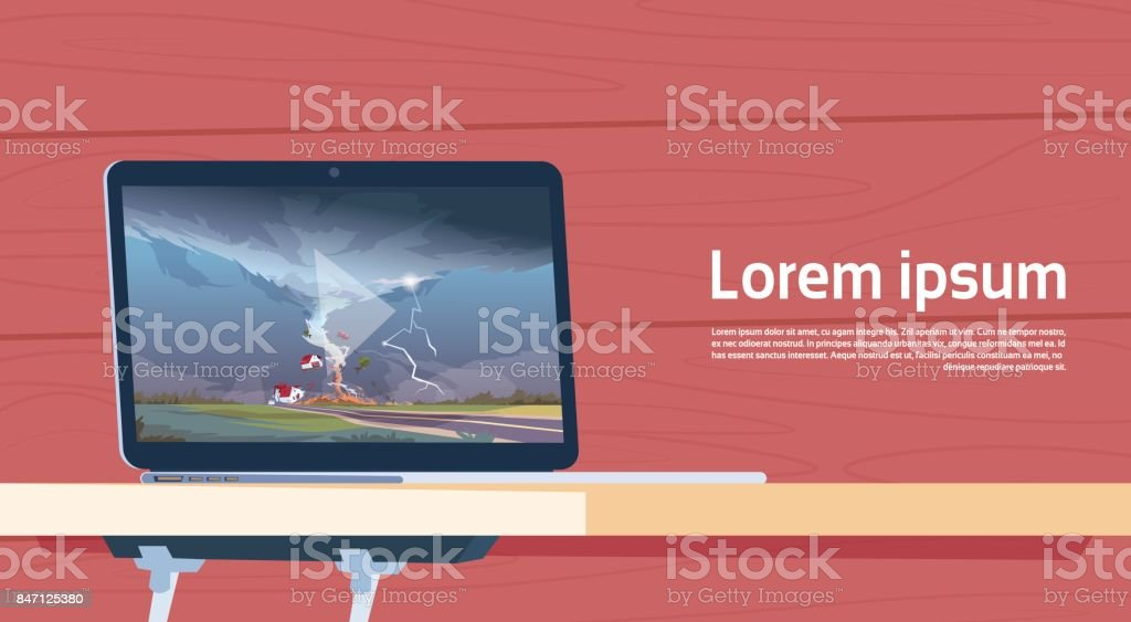 Laptop Computer Playing Video Of Twisting Tornado Destroying Farm Hurricane Landscape Of Storm Waterspout In Countryside Natural Disaster Concept vector art illustration