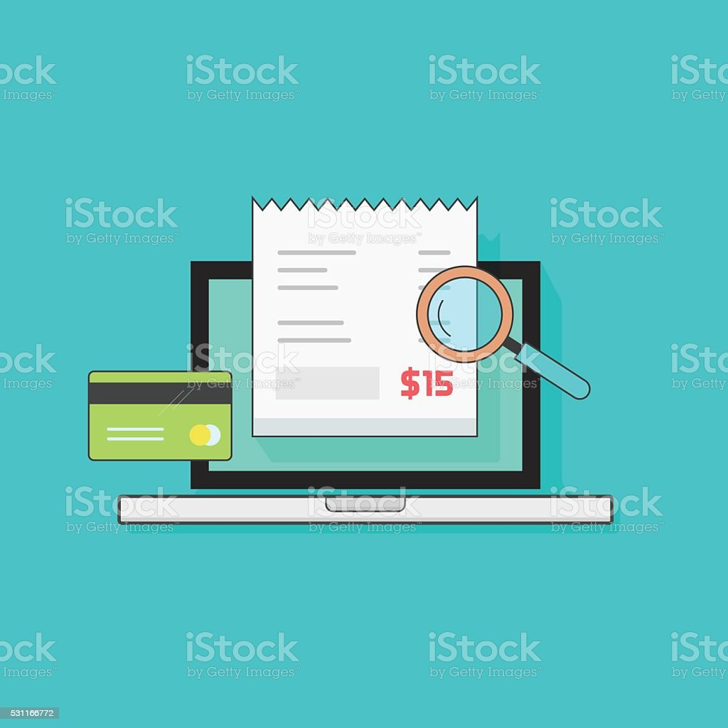 Laptop computer receipt, credit card, magnifier, concept of bills payment vector art illustration