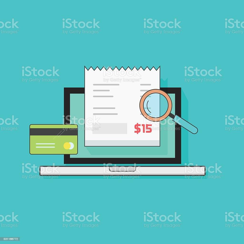 Laptop computer receipt, credit card, magnifier, concept of bills payment vector art illustration