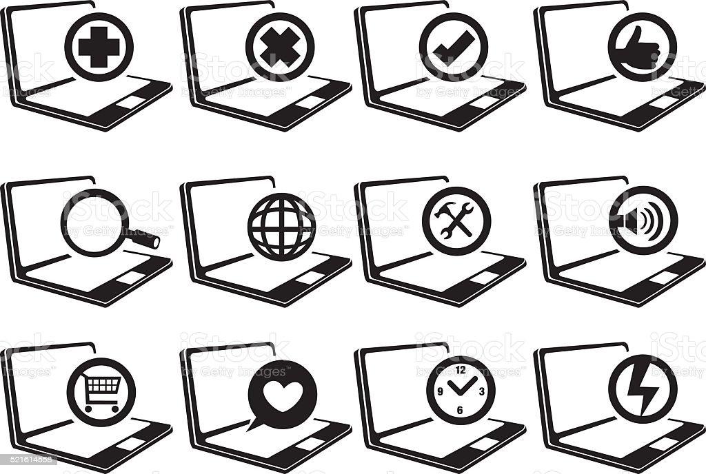 Laptop Computer Vector Icon Set vector art illustration