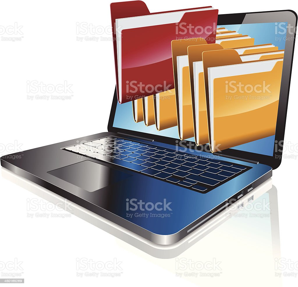 Laptop computer with folders coming out of screen vector art illustration
