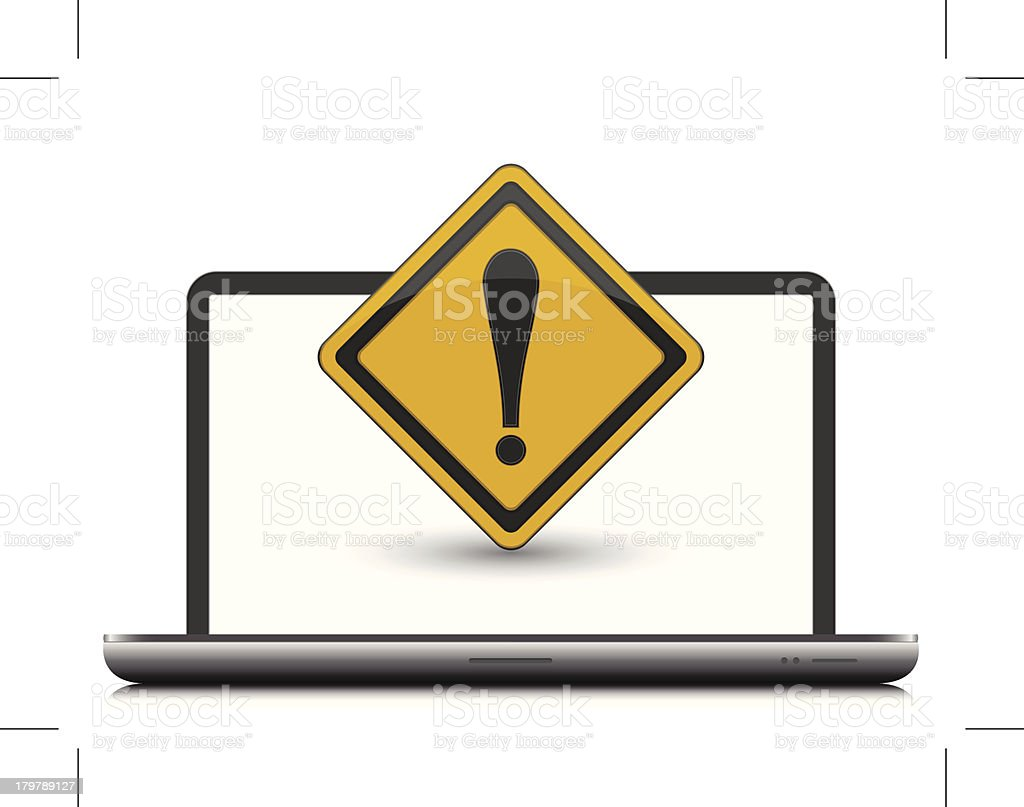 laptop computer with warning sign vector art illustration