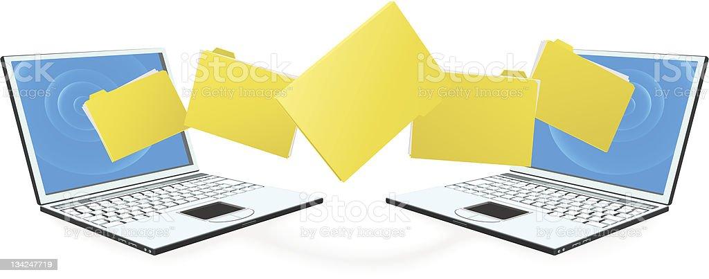 Laptop computers transferring files vector art illustration