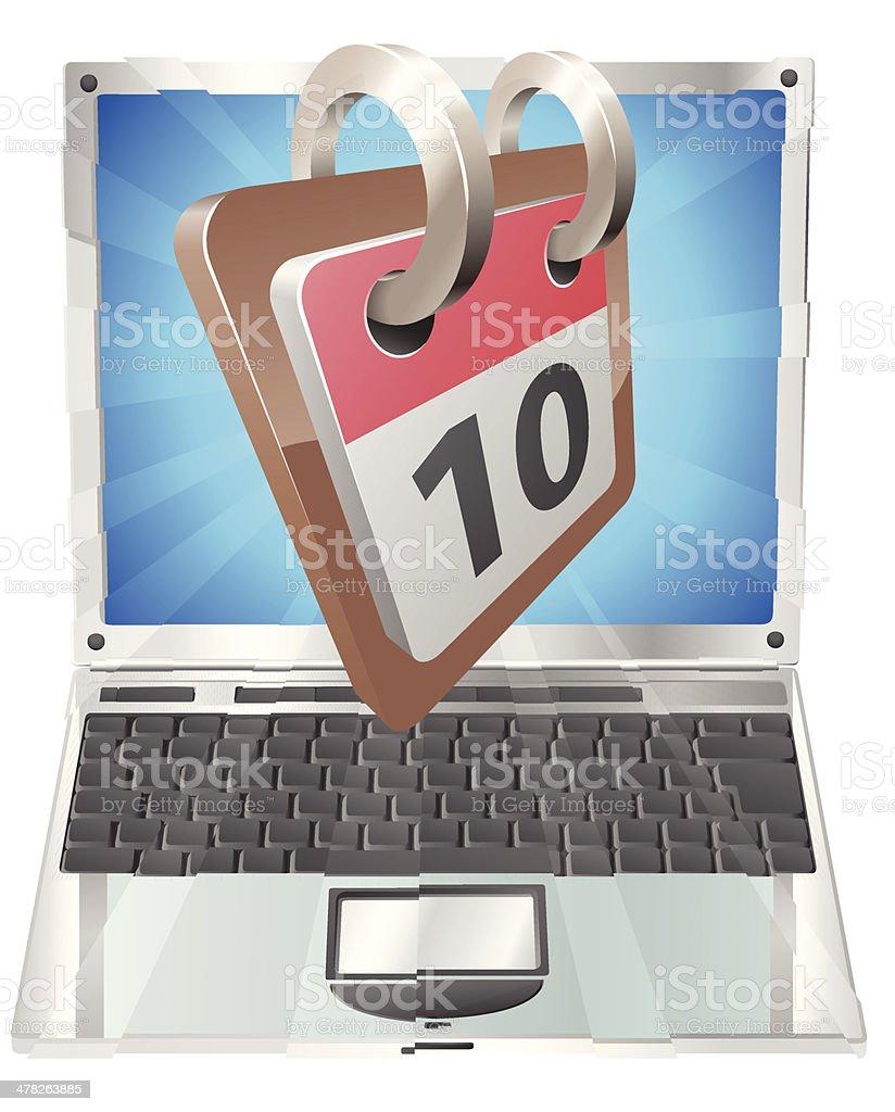 Laptop desk calendar concept royalty-free stock vector art