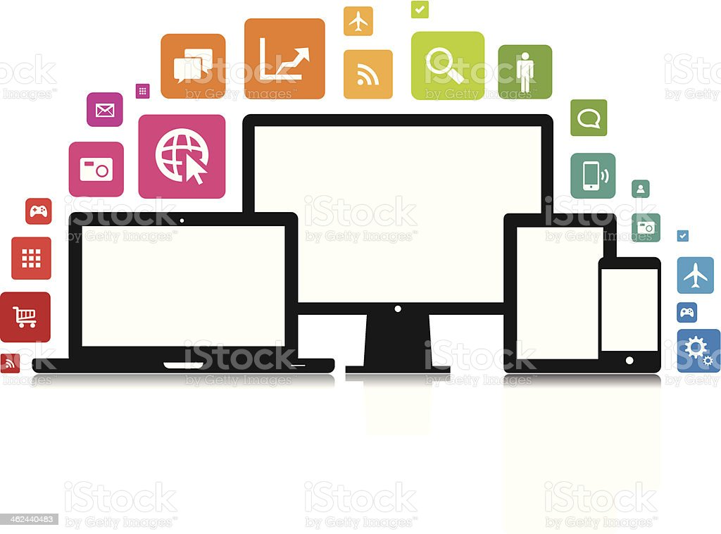 Laptop Desktop Tablet Smartphone App vector art illustration