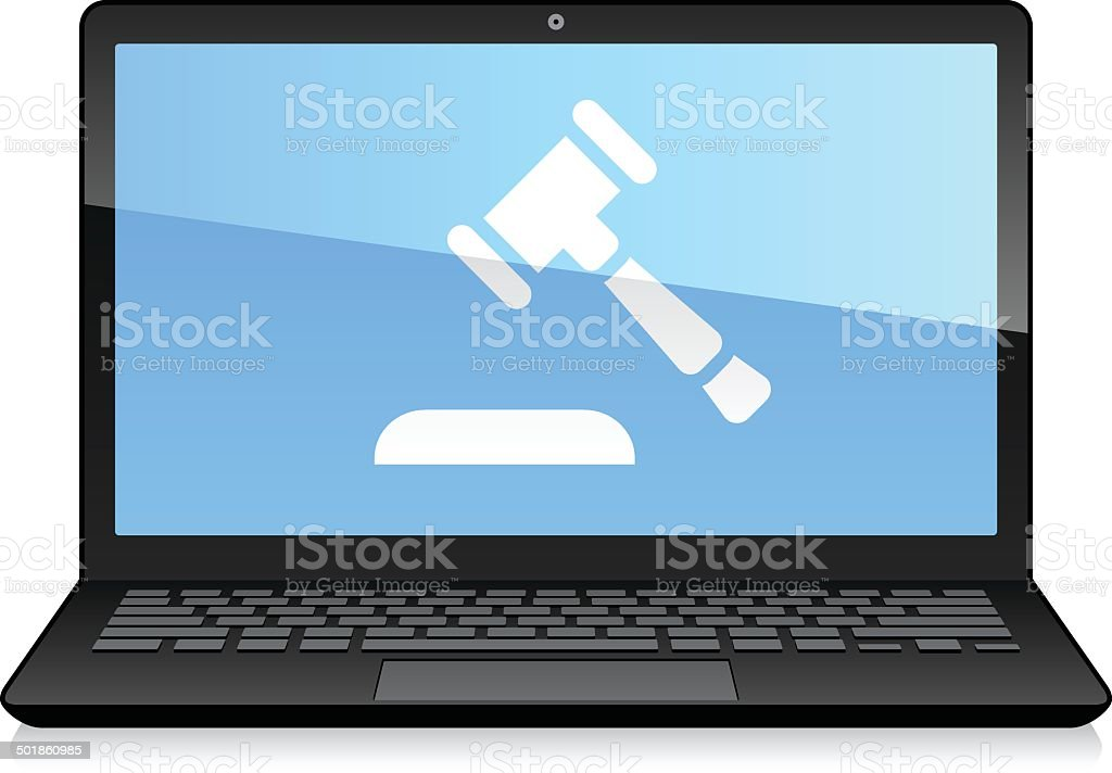 Laptop Displaying Auction Hammer vector art illustration