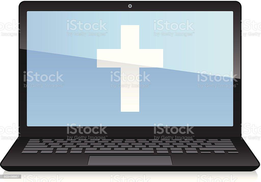 Laptop Displaying Cross Shape vector art illustration