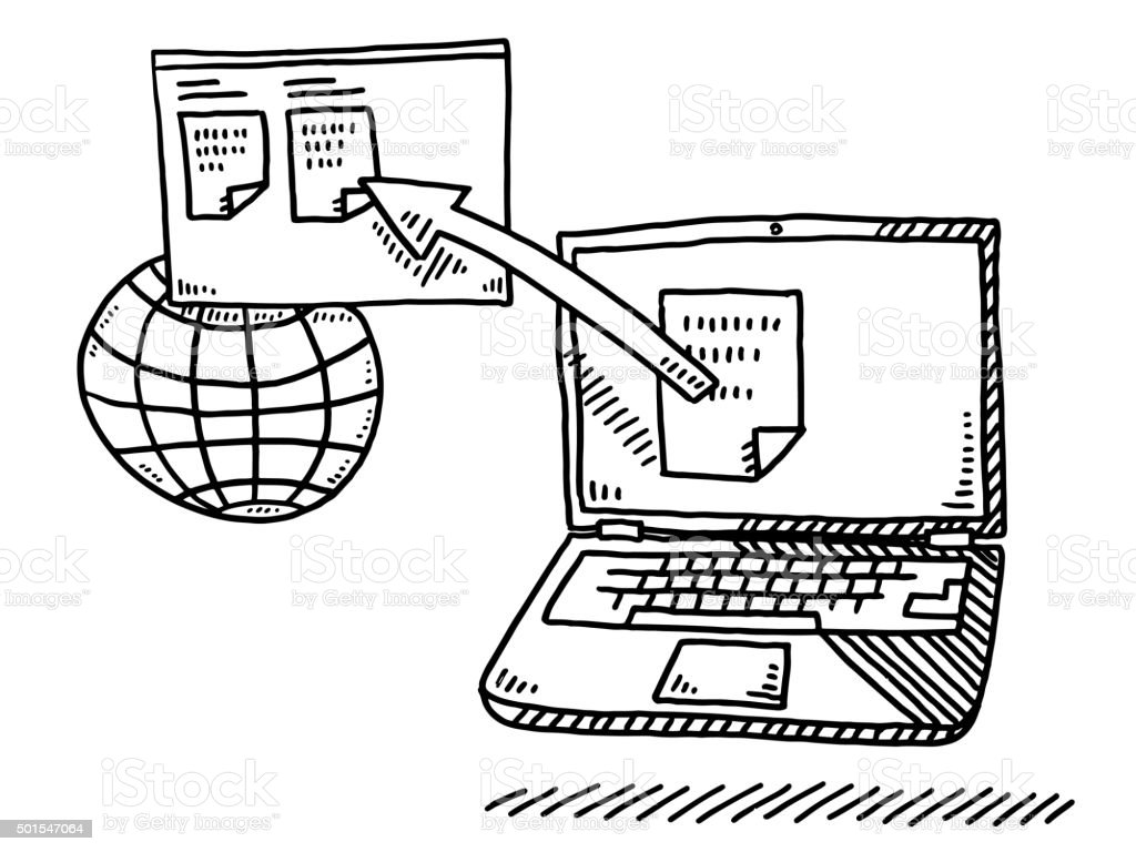 Laptop Document Upload To Website Drawing vector art illustration