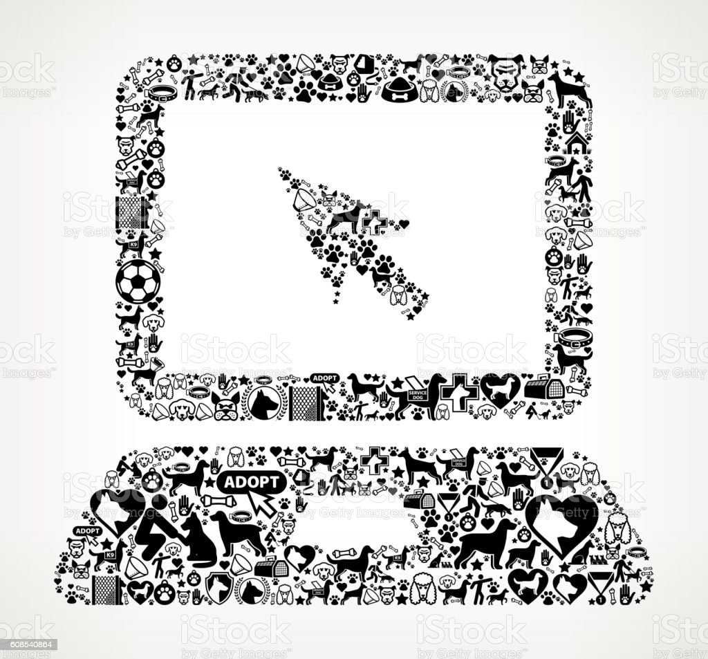 Laptop Dog and Canine Pet Black Icon Pattern vector art illustration
