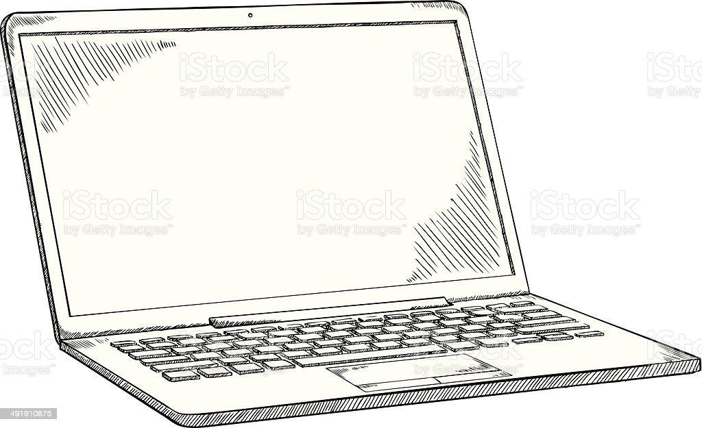 laptop doodle vector art illustration