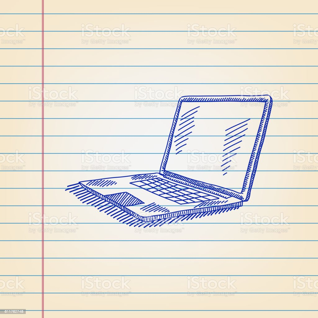 Laptop Drawing on Ruled paper. vector art illustration