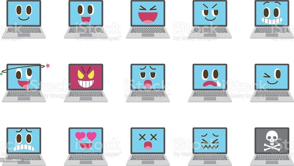 Laptop emoticons vector art illustration