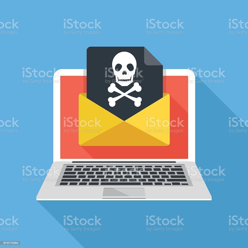 Laptop, envelope, document, skull icon. Virus, malware, email fraud vector art illustration