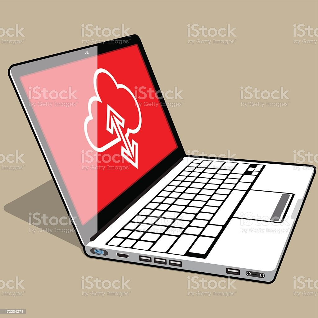 Laptop - Flat 3quater left view royalty-free stock vector art