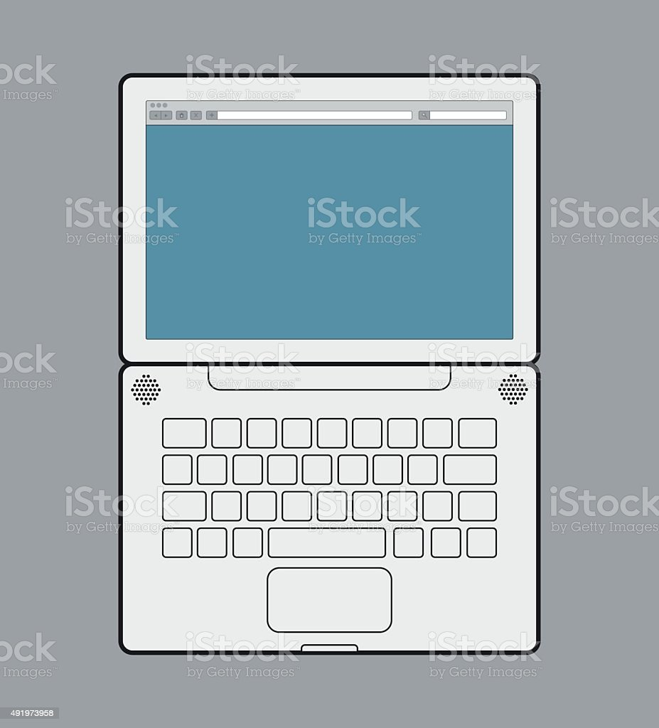 Laptop from the up vector art illustration