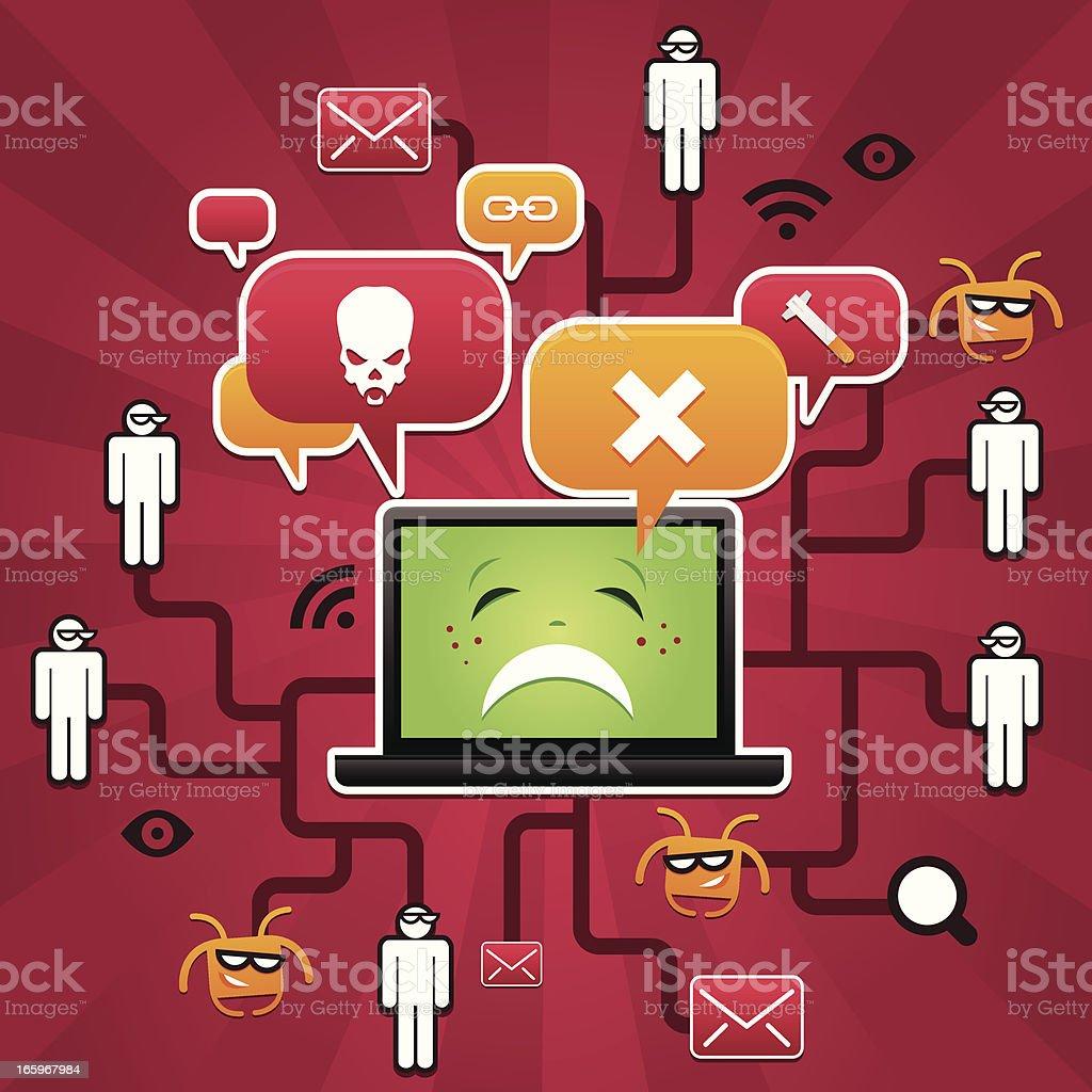 Laptop hacker attack royalty-free stock vector art