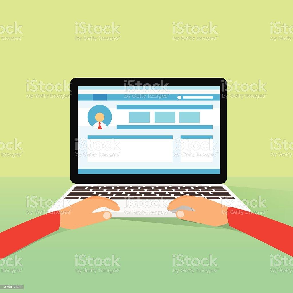 Laptop Hands Type Working Using Computer vector art illustration