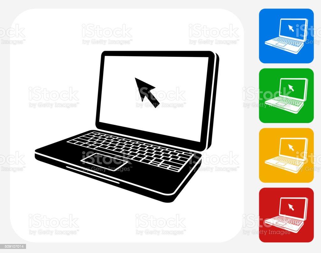 Laptop Icon Flat Graphic Design vector art illustration