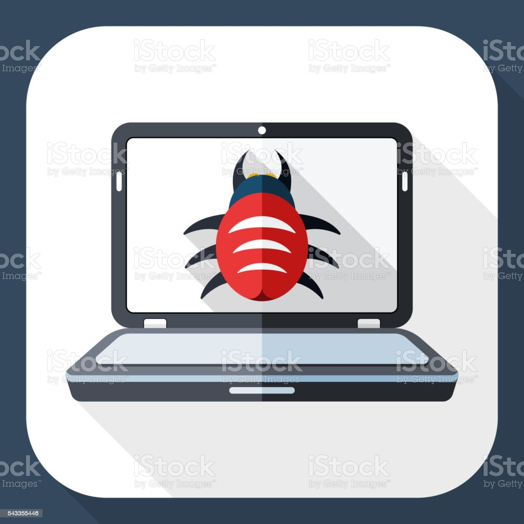 Laptop icon infected by malware with long shadow vector art illustration