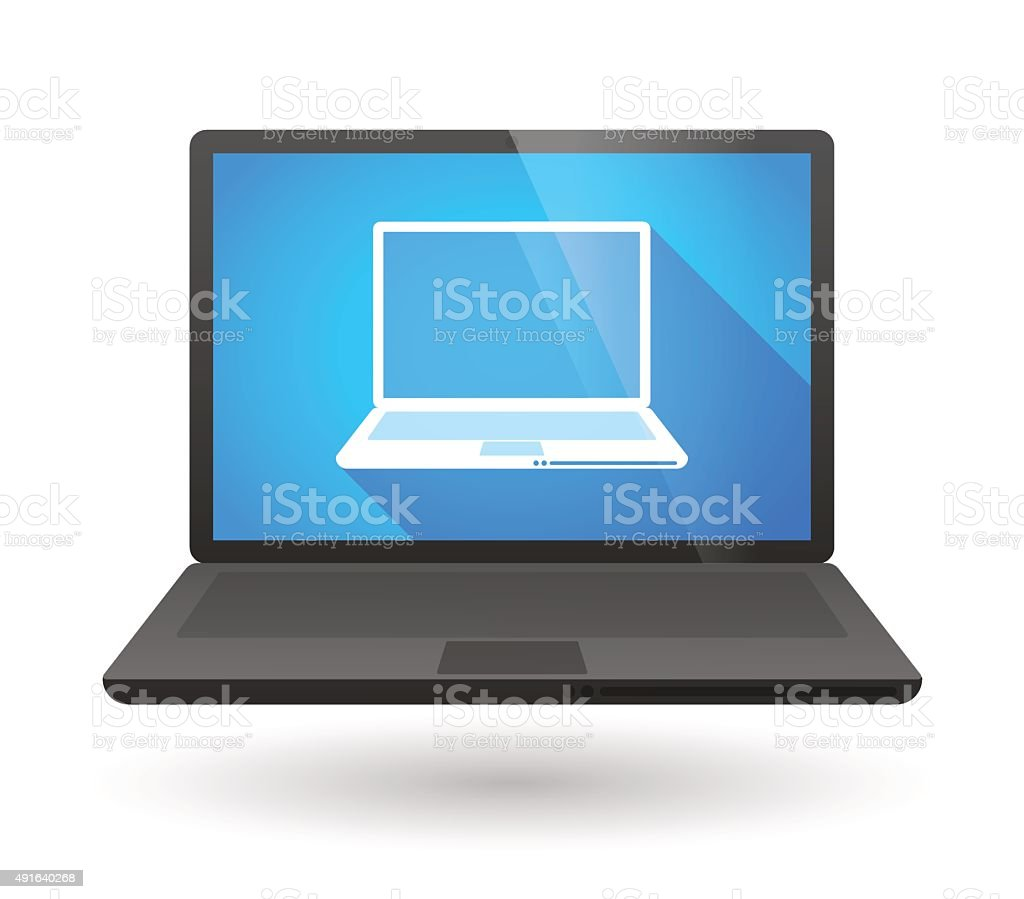 Laptop icon with a laptop inside vector art illustration