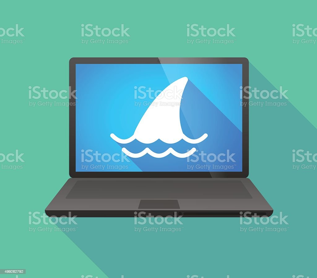 Laptop icon with a shark fin vector art illustration