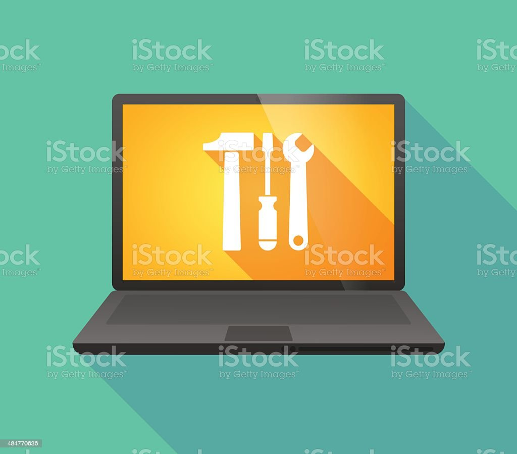 Laptop icon with a tool set vector art illustration