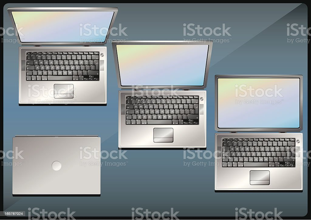 Laptop in four positions royalty-free stock vector art
