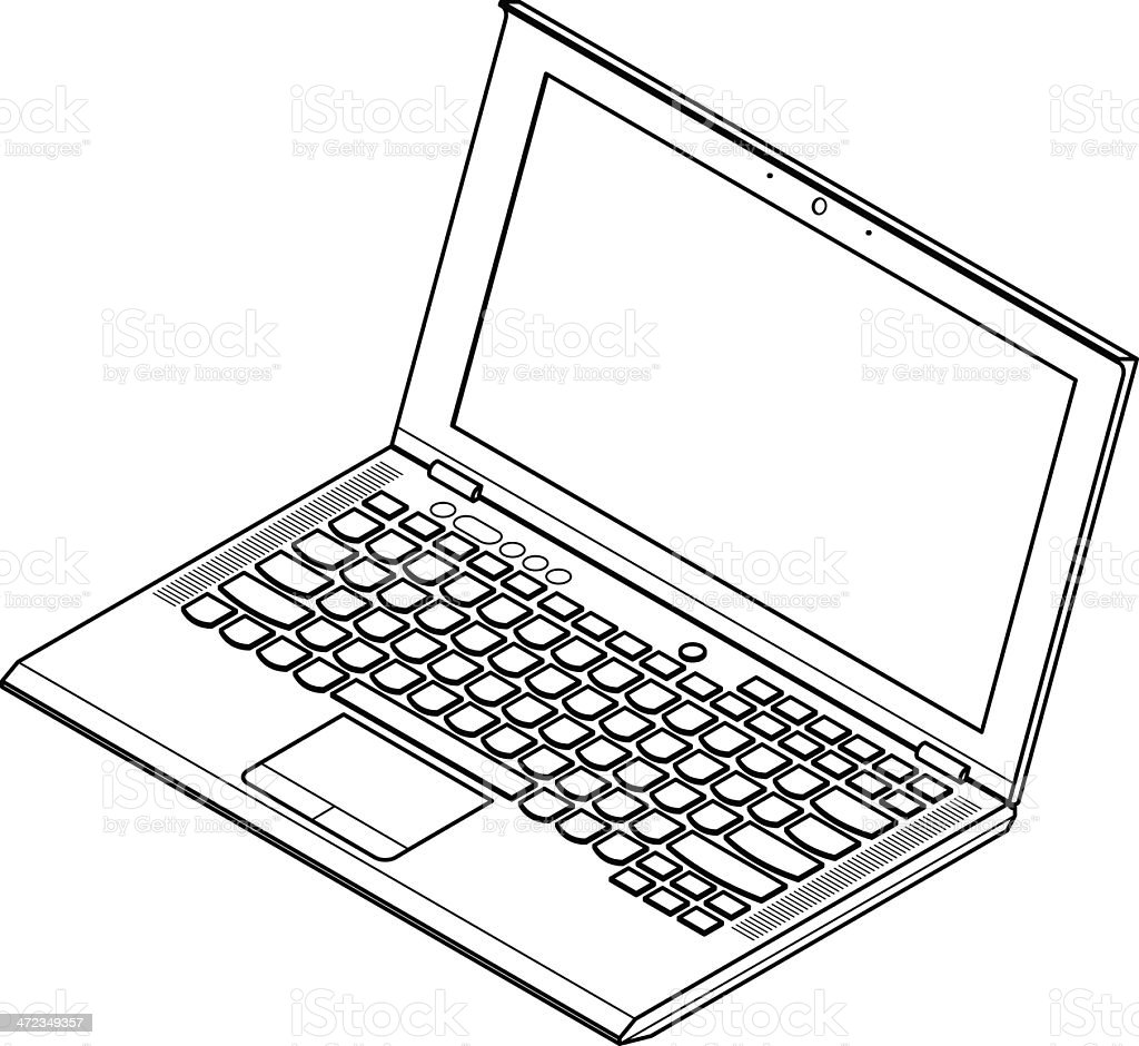 Line Art Keyboard : Laptop line art stock vector istock