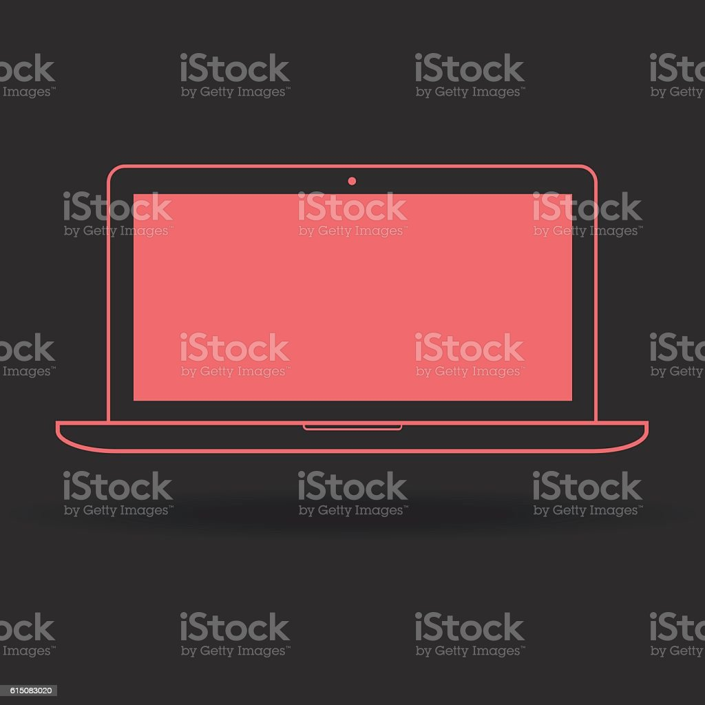 Laptop line icon for web, mobile and infographics. Vector light vector art illustration
