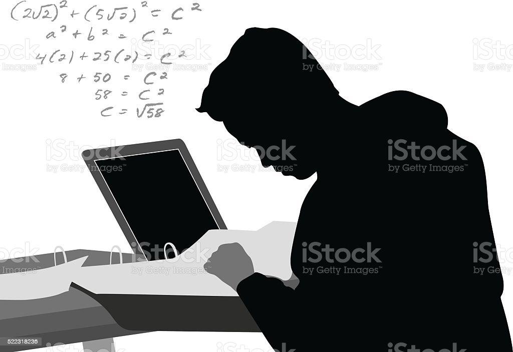 Laptop Math Equation vector art illustration