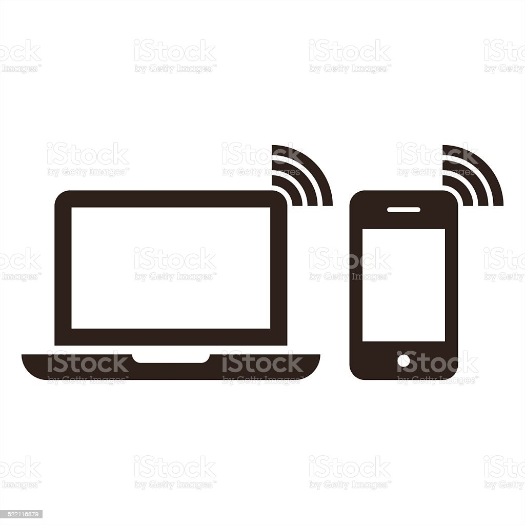 Laptop, mobile phone and wireless network icon vector art illustration