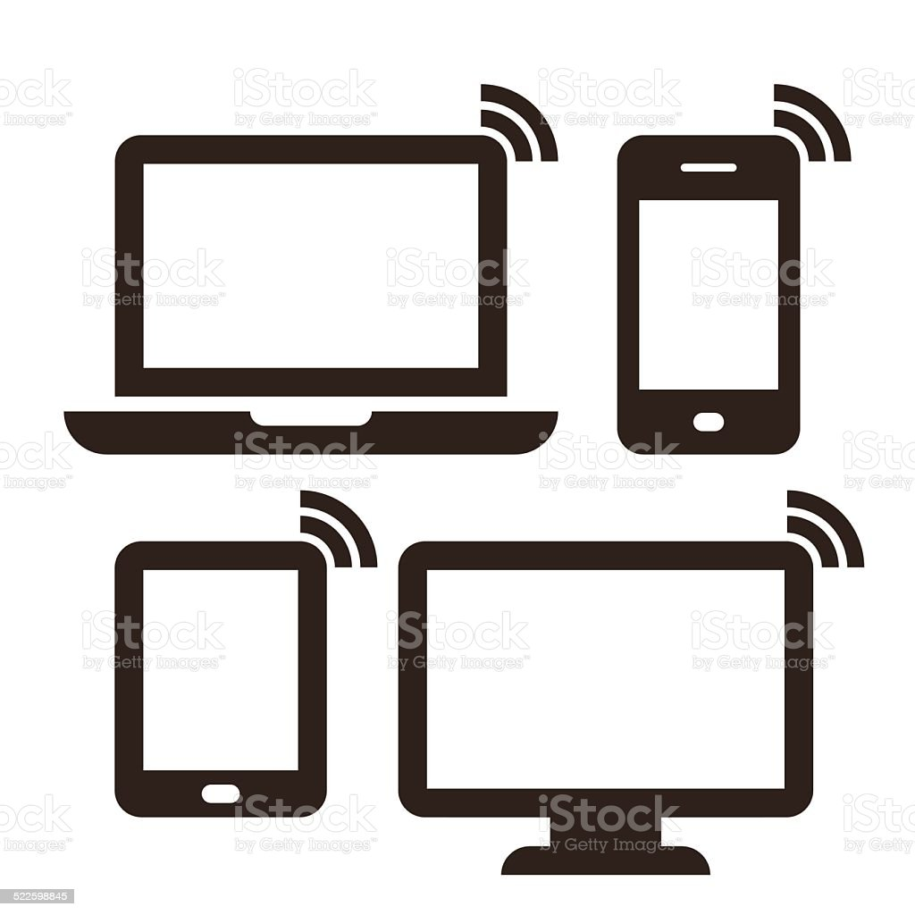 Laptop, mobile phone, tablet, monitor and wireless network icon vector art illustration
