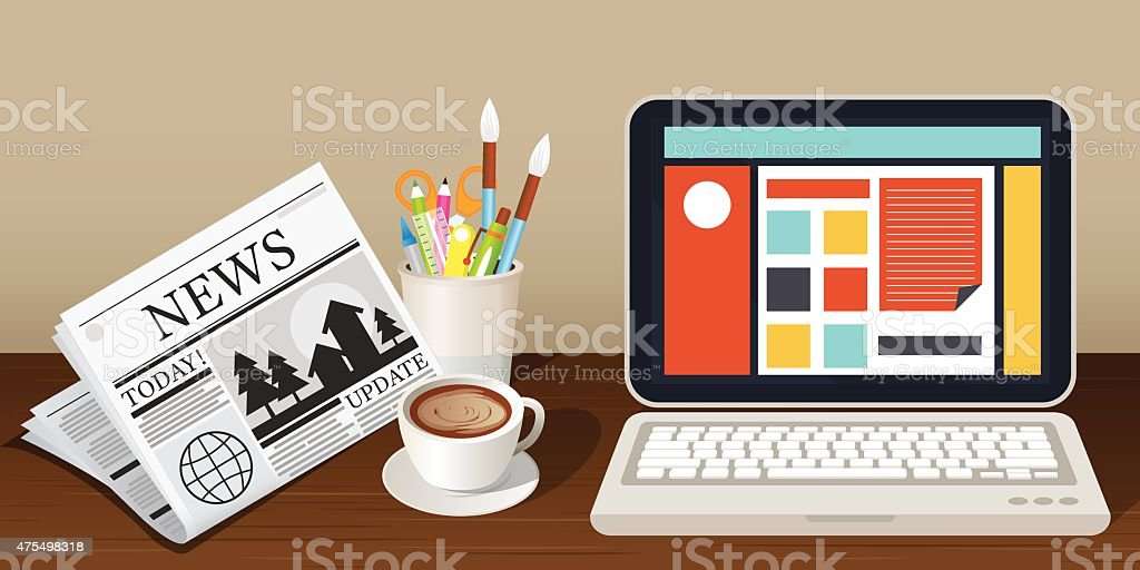 Laptop Newspaper Coffee Cup and Stationery Object vector art illustration