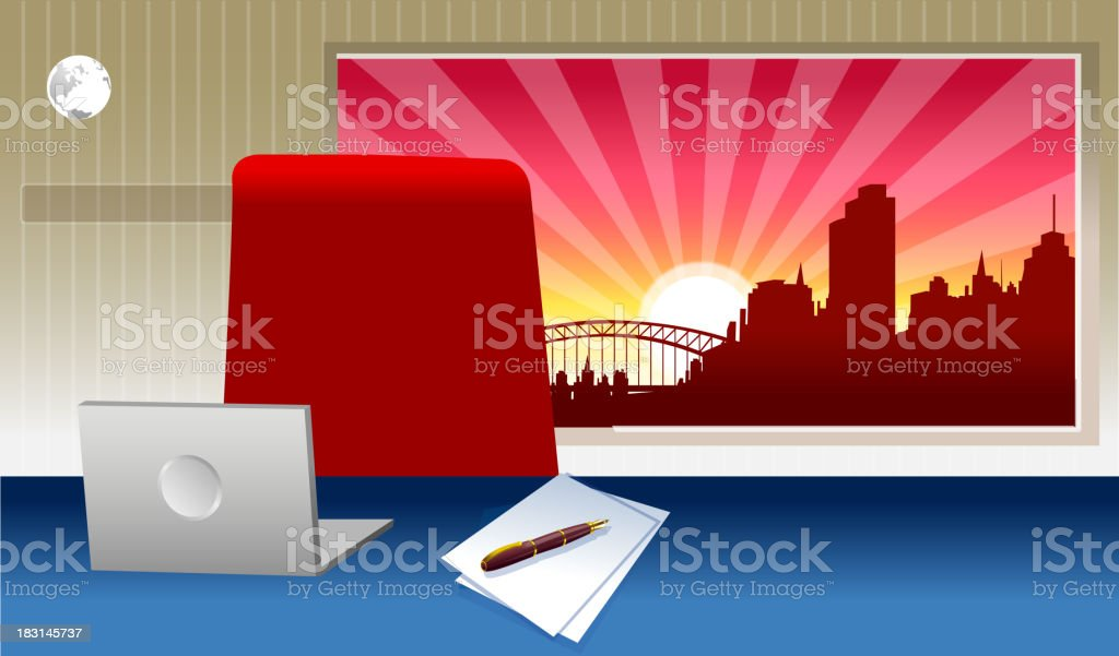 Laptop on a desk royalty-free stock vector art