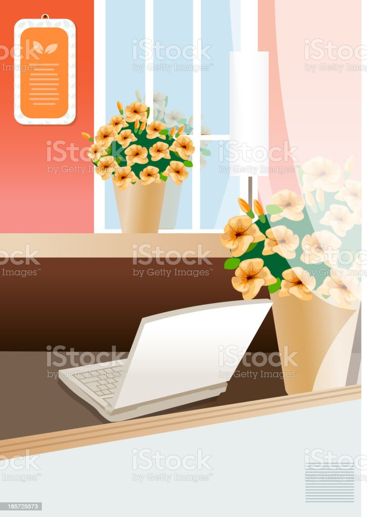 laptop on a table of director at modern office royalty-free stock vector art