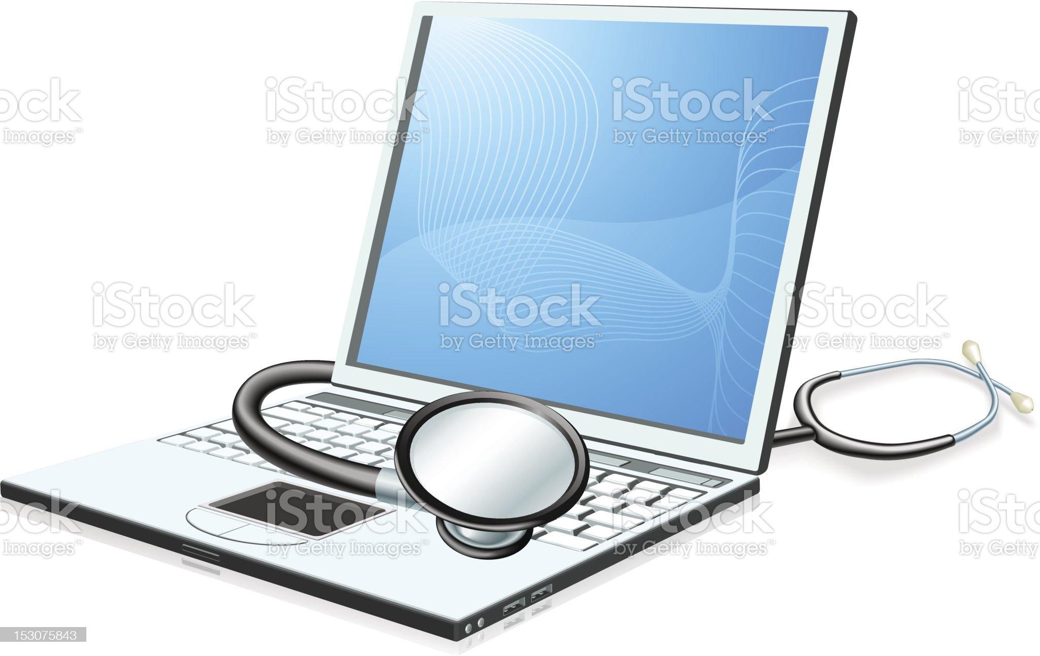 Laptop pc computer health check concept royalty-free stock vector art