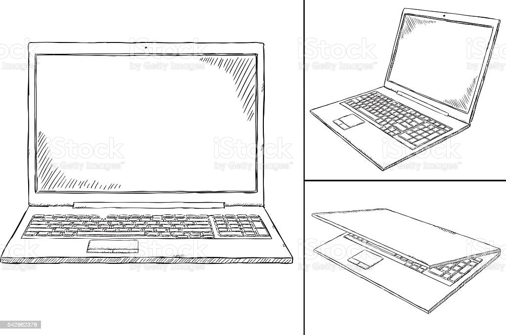 laptop PC doodle - 3 views vector art illustration