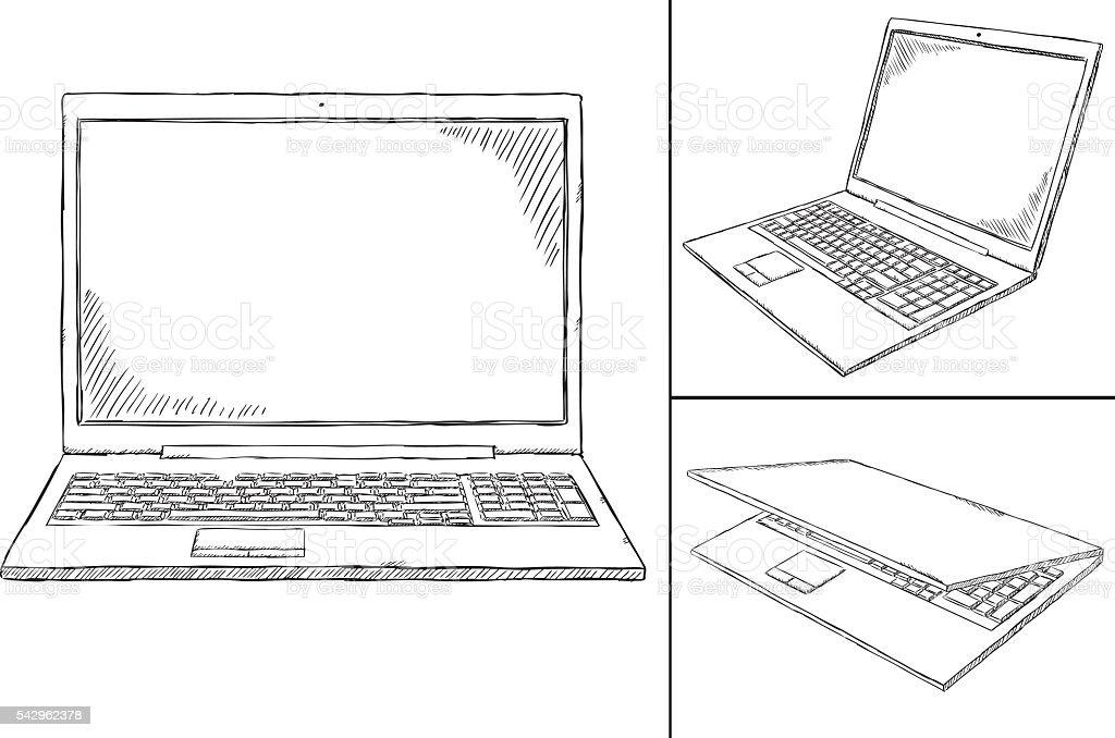 laptop PC doodle - 3 views vector art illustration