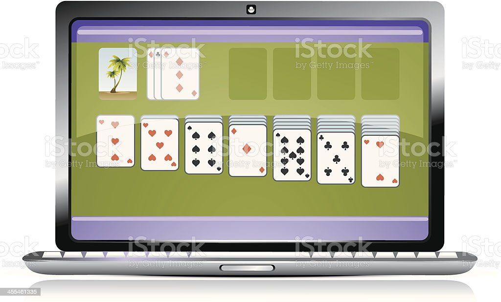 Laptop screen showing a running game of solitaire vector art illustration